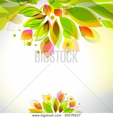 Abstract Fresh Colors Decorative Top And Bottom Summer Frame