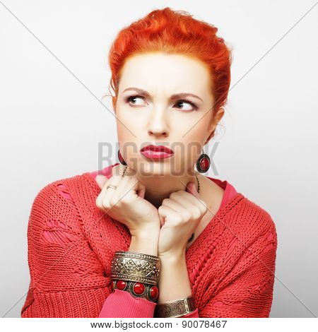 beautiful angry woman, studio shot