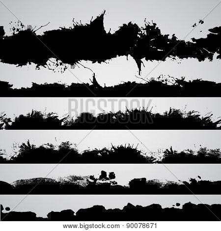 Grunge Drawn Splashes Set, Black Silhouettes