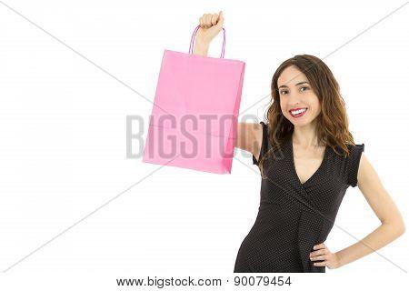 Woman Showing Paper Shopping Bag