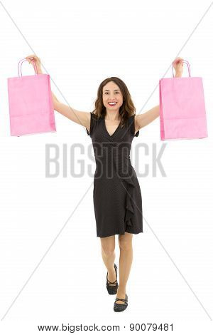 Shopping Woman Holding Up Shopping Bags