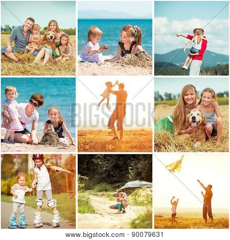 photo collage of family on vacation