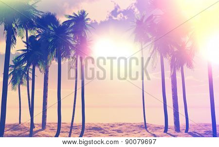 3D render of palm trees against a purple sunny sky with vintage effect