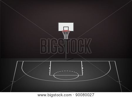 Basketball Hoop On Empty Black Court