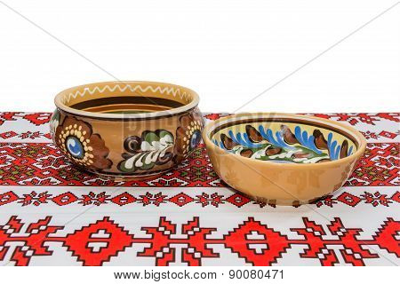 Two Bowl On The Tablecloth