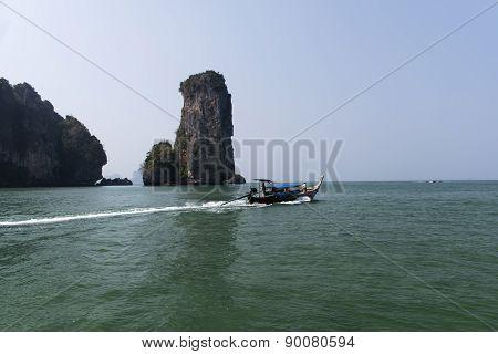 Aonang Beach. Coastal Line, boats