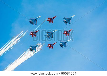 MOSCOW - MAY 7: Jet fighters do firework at last rehearsal of the parade dedicated to 70th anniversary of the victory in the Second World War in Red Square on May 7, 2015 in Moscow