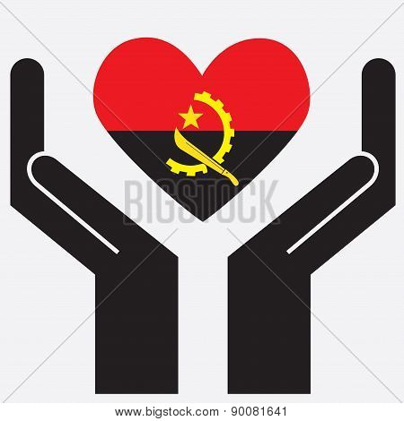 Hand showing Angola flag in a heart shape.