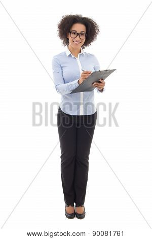 Young Beautiful African American Business Woman Writing Something On Clipboard Isolated On White