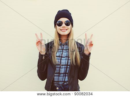 Fashion Portrait Of Pretty Blonde Girl In Trendy Rock Style Posing And Having Fun Outdoors