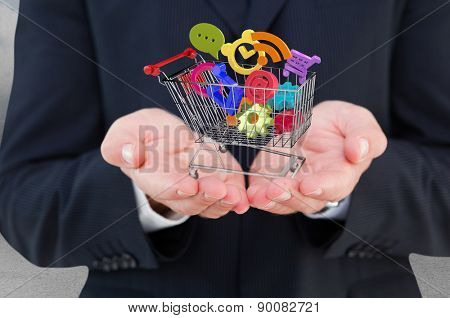 Close up of hand of a businessman against clouds in a room