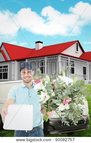 Flower delivery man showing clipboard against blue sky