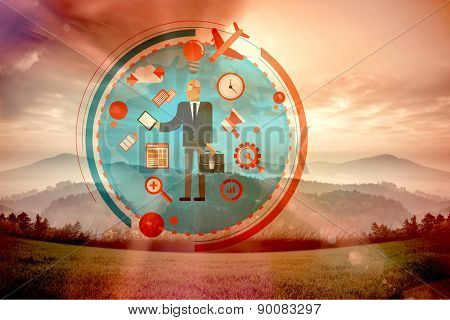 Businessman graphic against sun shining over mountains