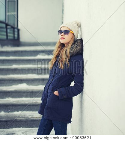 Outdoor Portrait Of Stylish Pretty Hipster Girl In The City, Street Fashion
