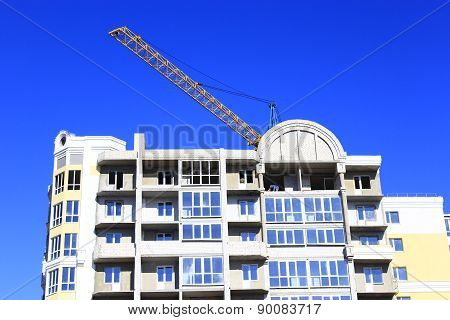 Modern Skyscraper With Hoisting Crane
