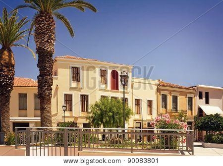 Building On The Square Of The Spa Town, The Island Of Crete.