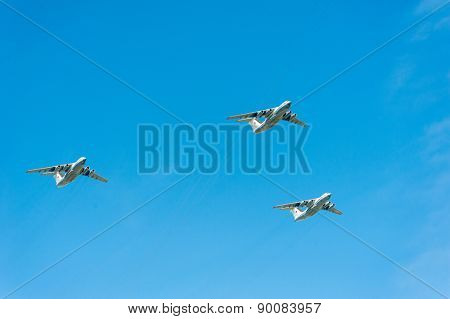 MOSCOW - MAY 7: Bombers participate at last rehearsal of the parade dedicated to the 70th anniversary of the victory in the Second World War in Red Square on May 7, 2015 in Moscow