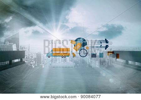 logistics graphics against sun shining over road and city