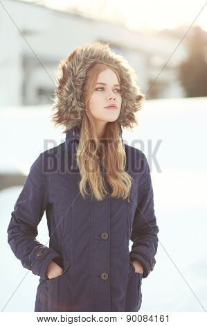 Pretty Blonde In Winter Jacket Outdoors