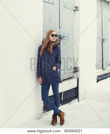 Street Fashion Concept - Pretty Hipster Girl In Urban Style Outdoors