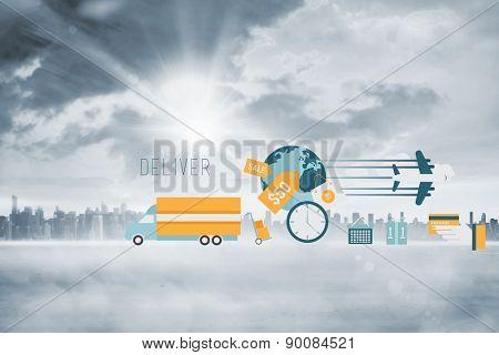 logistics graphics against sun shining over city