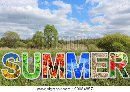 Word Summer By Different Letters And Landscape