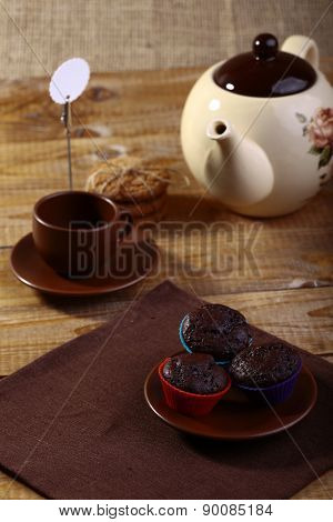 Chocolate Cupcakes On Plate