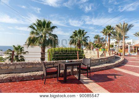 Outdoor restaurant overlooking the sea