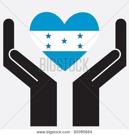Hand showing Honduras flag in a heart shape.