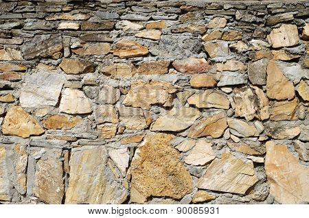 Old Stone Wall Closeup