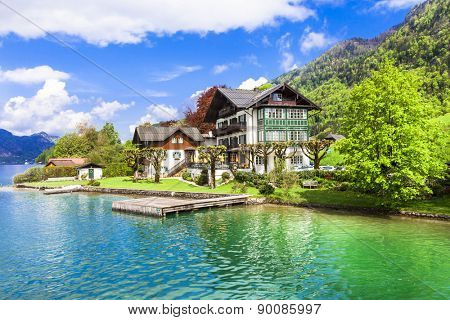 pictorial St Wolfgang lake in Austria with crystal waters