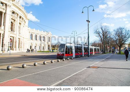 Part Of Burgtheater, Red Tram And People Walking, Vienna