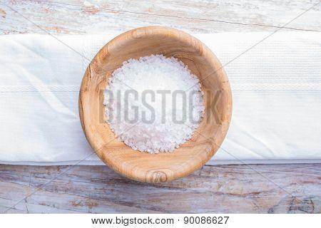 Salt In Wooden Bowl