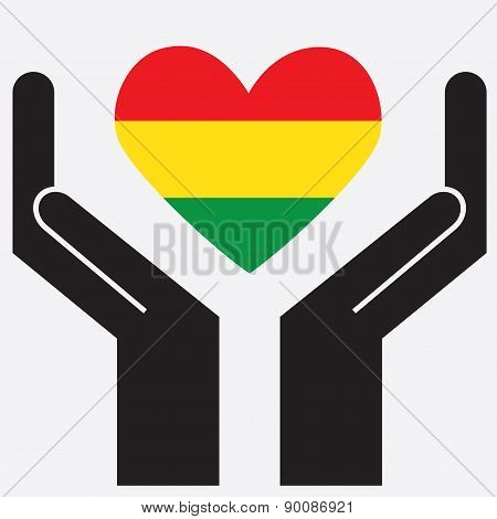 Hand showing Bolivia flag in a heart shape.