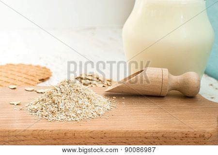 Oatmeal And Bran On A Wooden Board