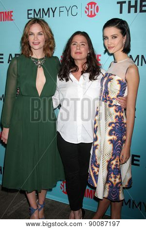 """LOS ANGELES - MAY 6:  Ruth Wilson, Maura Tierney, Julia Goldani Telles at """"The Affair""""  Event at the Samuel Goldwyn Theater on May 6, 2015 in Beverly Hills, CA"""