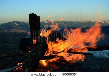 Red fireplace with black trees on the montains background in the evening