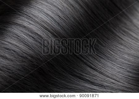 Closeup On Luxurious Glossy Black Hair