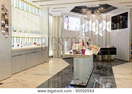 HONG KONG - MAY 05, 2015: cosmetics boutique interior. Hong Kong�s cosmetics market is highly competitive and having no sales taxes