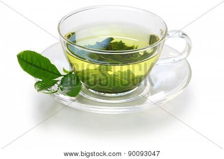 glass cup of Japanese green tea isolated on white background