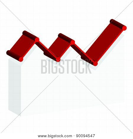 Line Graph Element. Graph, Chart Over Gridded Background. 3D.