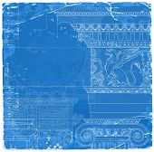 """Blueprint - hand draw sketch ionic architectural order based """"The Five Orders of Architecture"""" is a book on architecture by Giacomo Barozzi da Vignola from 1593. Vector illustration. poster"""