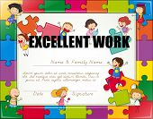 Certificate with children jigsaw border poster