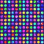 Hexagonal gems in random rainbow colors. EPS8 vector without transparency. Colors are generated by a script and gems are grouped poster