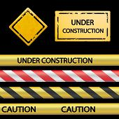 Set of signal tape and warning signs. Vector image. poster