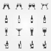 Drink alcohol beverage icons - vector black set of beer, wine, martini, champagne bar symbols poster