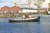 liverpool ship entering the docks uk england poster