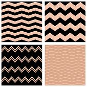 Tile pastel vector pattern set with black and pink zig zag background for seamless decoration wallpaper poster