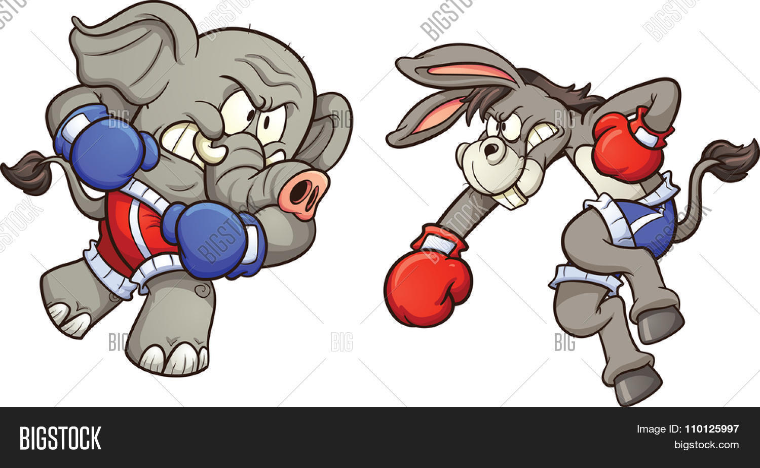 Democrat cartoon donkey and republican elephant throwing a punch. Vector  clip art illustration with simple 681bb3f74