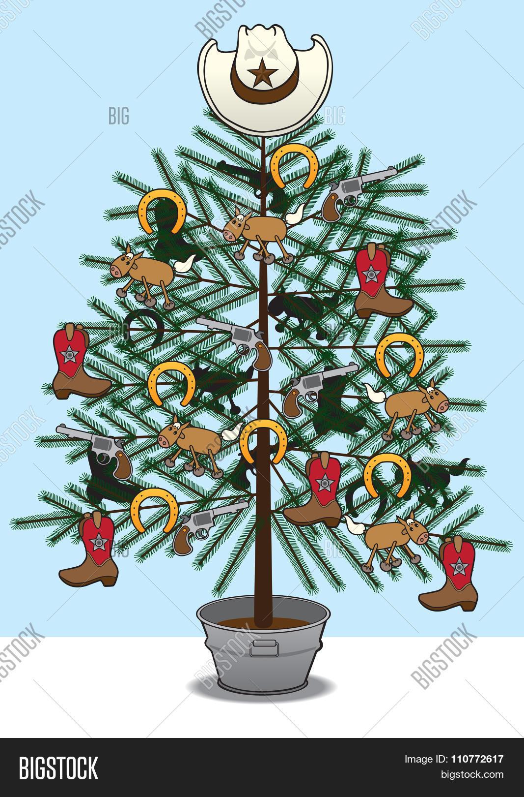 Cowboy Christmas Tree Vector Photo